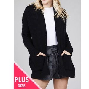 COMING SOON black dolman sleeve cardigan sweater